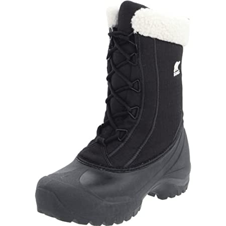 DECENT FEATURES of the Sorel Women's Cumberland Boot Durable water and wind resistant PU coated synthetic textile upper Gusseted tongue keeps out slush and snow Sherpa Pile snow cuff 200g Thinsulate Insulation Removable EVA comfort foot bed Injection...