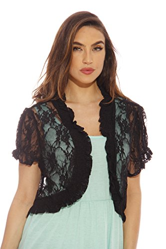 2502-Blk-2X Just Love Plus Size Shrug / Women Cardigan,Black With Lace,2X