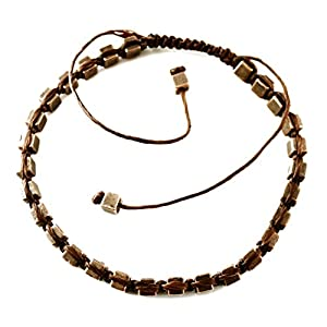 Perepaix RAVE Mens Bracelet Shang Shamballa Rustic Beads in Plated Alloy Brown Wax Cord Adjustable