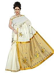 Brindavan Kerala Cotton Full Jari Tissue (Gold) Pallu with Special Peacock Embroidery Party Wear Saree (19893273)