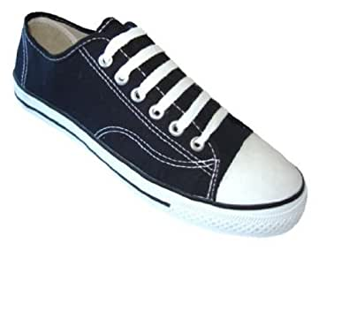 Mens Classic Canvas Lace Up Shoes Sneakers 4 Colors Available (7, Black 327M)