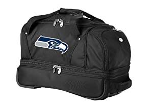 NFL Seattle Seahawks Denco 27-Inch Drop Bottom Rolling Duffel Luggage, Black