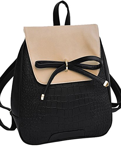Coofit-Leather-Backpack-Girls-Schoolbag-Shoulder-Bag-Casual-Daypack-with-Bowknot