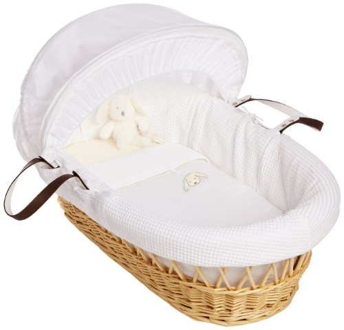 Izziwotnot Gift Natural Wicker Moses Basket (White)
