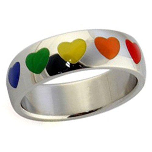unisexe-bague-acier-inoxydable-coeurs-epoxy-classiques-gay-pride-colore-bandes-taille-64-par-aienid
