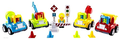 WolVol (set of 4) Friction Powered Toy Cars with Traffic Signs and Cones, Construction Activity (Mini Toy Construction Cones compare prices)