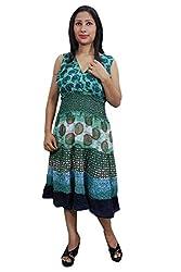 Indiatrendzs Women Dresses Casual Green Printed Cotton Midi Dress