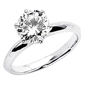 14K White Gold High Polish Finish Round-cut 1.25 CT Equivalent Top Quality Shines CZ Cubic Zirconia Ladies Solitaire Wedding Engagement Ring Band (Size 4 to 12) - Size 5