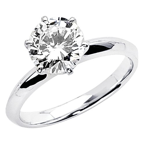 14K White Gold High Polish Finish Round-cut 1.25