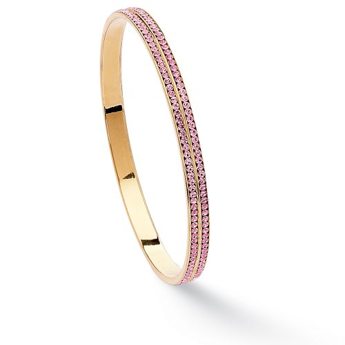 Round Birthstone 14k Yellow Gold-Plated Eternity Bangle Bracelet 9