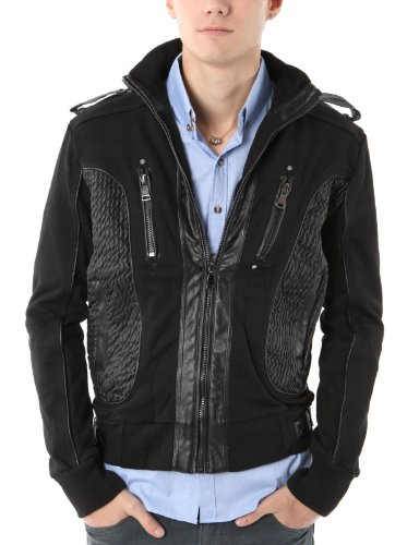 9XIS Mens Casual Patched Leather Jacket BLACK M (9MO015)