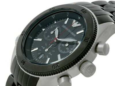 Emporio Armani Men's AR0547 Black Stainless-Steel Quartz Watch with Black Dial