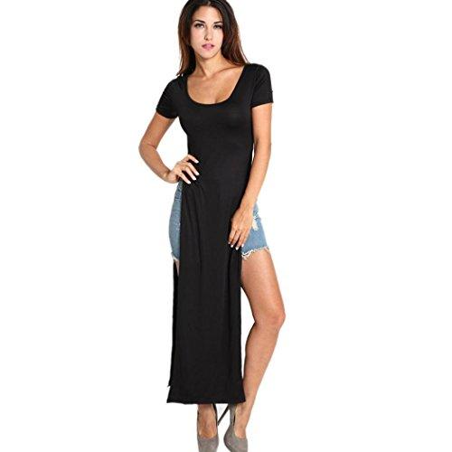 Finejo Women Double Split Short Sleeve Long Maxi Dress High Split Slit Skirt