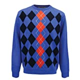 Proquip Golf Water Repellent Crew Neck Jumper in Blue/Inferno X Large
