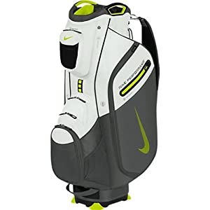 Nike Golf Performance Cart II Golf Bag, White/Venom Green/Dark Base Grey