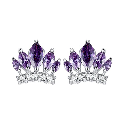 Bamoer Women White Gold Plated Brass Imperial Crown Stud Earrings Purple Aaa Cubic Zircon Cz Jewelry For Girlfriend (Purple)