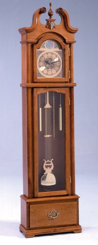 Bernards Furniture Oak Grandfather Clock with Quartz Movement