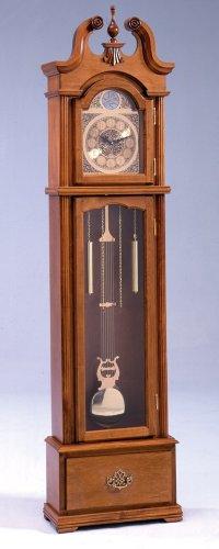 Bernards Furniture Oak Grandfather Clock with Quartz Movement