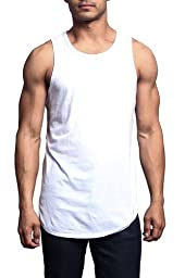 YANWENFANG Men\'s Solid Color Long Length Curved Hem Tank Top Gym Us Size (XXL, white)