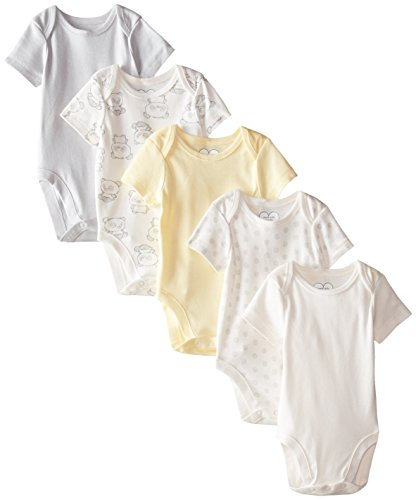 The Children's Place Unisex-Baby Infant Short Sleeve Bear 5-Pack Bodysuits, Duckling, 0-3 Months