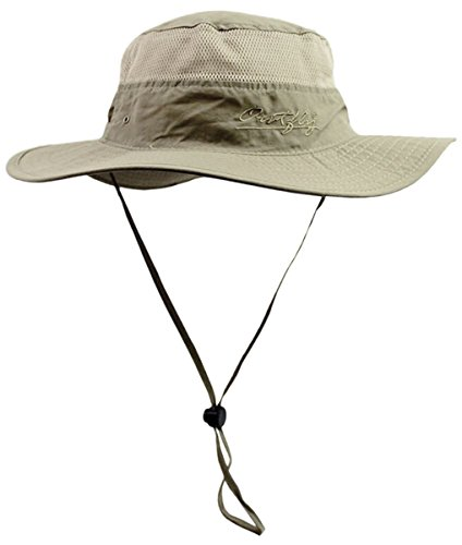 Panegy Outdoor Big-Brimmed Bonnie Caps UV Sun Caps Jogging Hunting Bora Boonie Hats - Light Brown (Vented Fishing Hat compare prices)