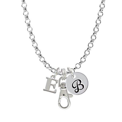 Large Greek Letter - Epsilon - Initial - B - Badge Clip Necklace