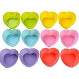 12er Herz Silikon Muffinform Muffin Form Kuchen Cup Cake Pudding Gelee Lila, Gelb, Grün, Pink, Blau, Rot
