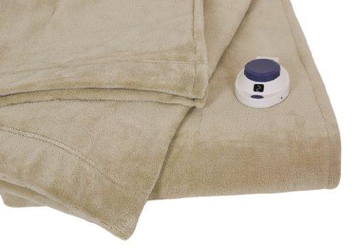 Serta Luxe Plush Low-Voltage Electric Heated Micro-Fleece Blanket, Twin, Pearl