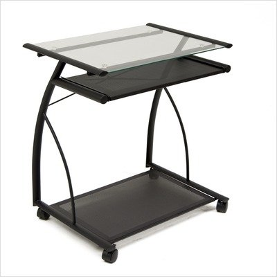 Buy Low Price Comfortable L-Cart Computer Table in Silver with Clear Glass by Studio Designs (B004F7Q1NE)