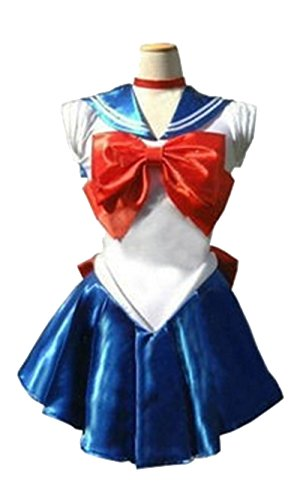 Dillian Womens Sailor Moon Mars Costume Cosplay Party Dress & Gloves,Deepblue,M (Plus Size Sailor Moon Costume)