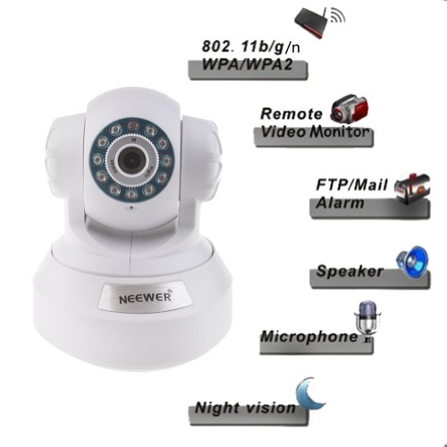 Neewer® P2P Plug & Play High Definition Wireless Pan & Tilt Ip Camera, H.264 720P 1 Million Pixels, Surveillance Camera System, Baby Monitor, Pets Monitor, Home Security, Two-Way Audio, Night Vision, Built-In Microphone With Cell Phone Remote Monitoring, front-61949