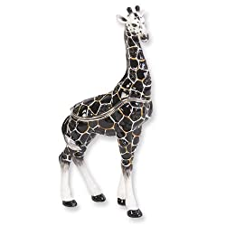 Black Enameled &amp; Crystal Giraffe Trinket Box Perfect Gift Idea