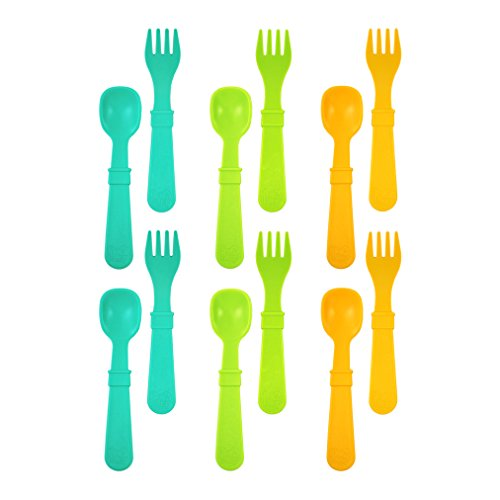 Re-Play Made In USA 12pk Utensils for Easy Baby, Toddler, Child Feeding - Aqua, Green, Sunny Yellow (Aqua Asst.)