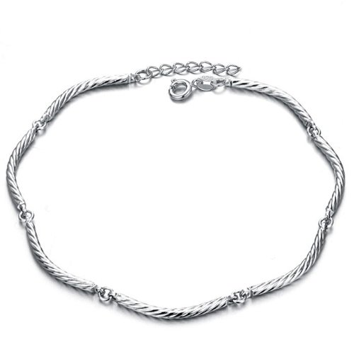 Opk Jewellery Fashion Adjustable Unisex Anklet Bracelet 18K White Gold Plated Silver Roll Shaped Rope Foot Chain New Design Stylish Personality Gift Never Fade And Nickle Free 10.24 Inch Length 2.5mm Width 8g Weight