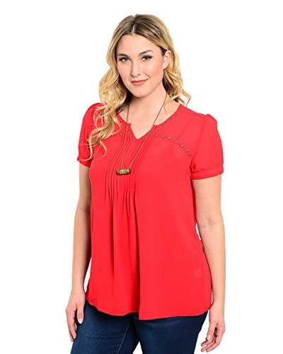 Club LA Plus Women's Stud Detail Top  [Red]