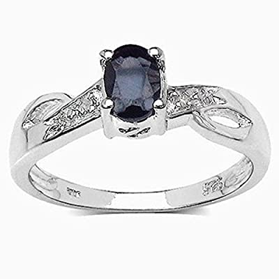 The Sapphire Ring Collection: Beautiful Sterling Silver Oval Black Sapphire Engagement Ring with Diamond Set Shoulders