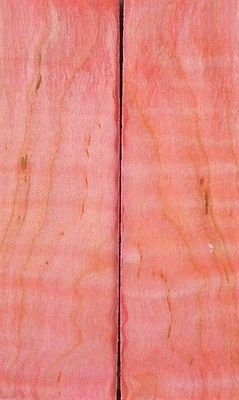 """Maple Curly Stabilized Pink 2 Pc Knife Scales 1/2"""" X 1 1/2"""" X 5"""" 16"""