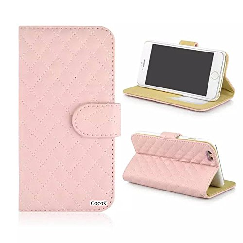 Cocoz® Iphone 6 4.7 Case New Simple Fashion Plaid Pu Leather Case Card Holder Flip Case Cover Credit Id Case Slim Fit Case Advanced Shock Absorption Protection [Slim For 4.7 Iphone 6 ] (Light Pink)