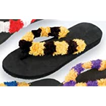 Style Travel 60422 Trend Stepper Fuzzy Flip Flops - Black-Gold - Size M-L