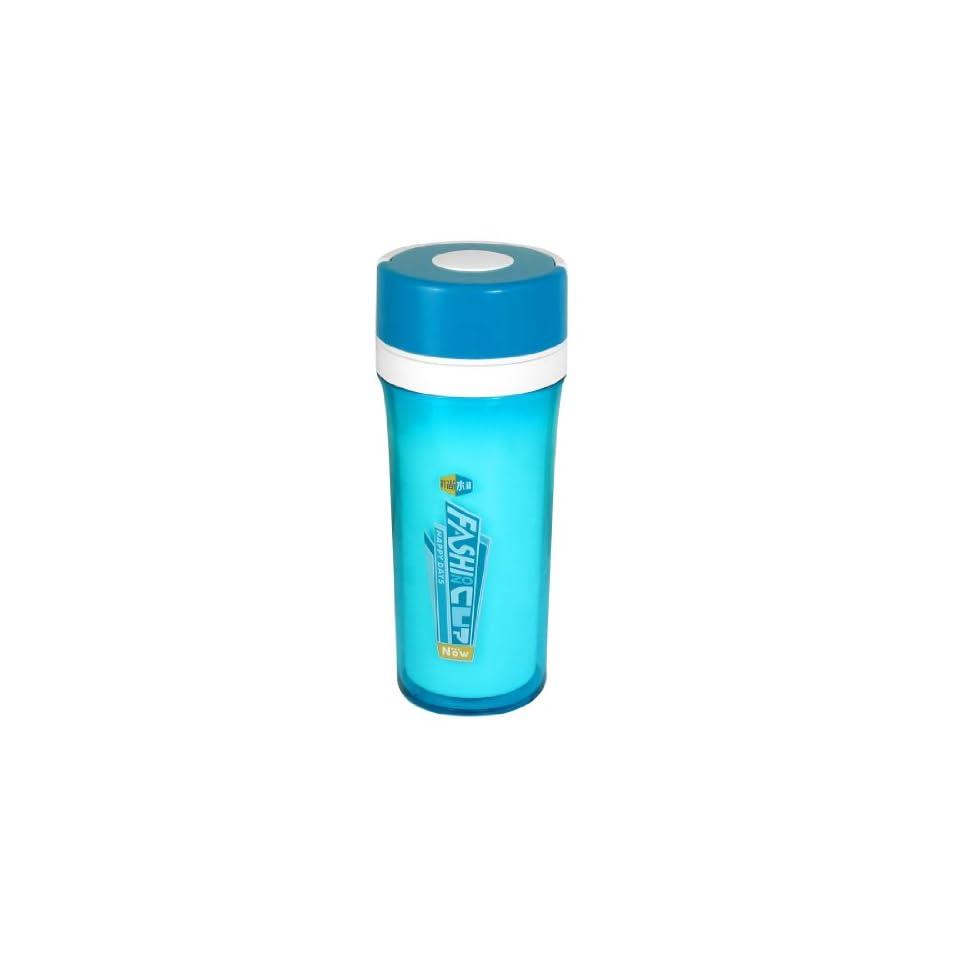 Sport Letter Printed Strainer 350ML Cylinder Water Bottle Clear Light Blue White Kitchen & Dining
