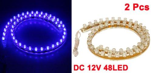 2 Pièces Imperméable 480mm 48cm Bleu 48 Flexible Phare LED Bande pour voiture