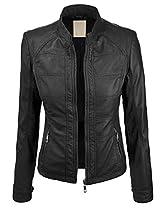 MBJ Womens Panelling Faux Leather Biker Jacket XS BLACK