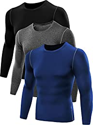 Neleus Men\'s 3 Pack Athletic Compression Sport Running T Shirt Long Sleeve Base Layer,Black,Grey,Blue,Small