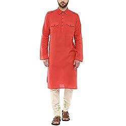 Indus Route by Pantaloons Men's Cotton Rayon Kurta 205000005577482 _Pink_ M