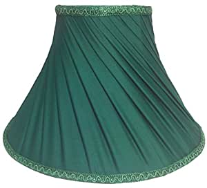 """RDC 12"""" Round Slanting Pleated Green with Lace Border Lamp Shade for Table Lamp"""