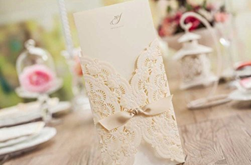 WISHMADE Laser Cut Invitations Cards Kit Beige Printable 50 Count for Wedding Birthday Bridal Shower with Envelopes Seals 2
