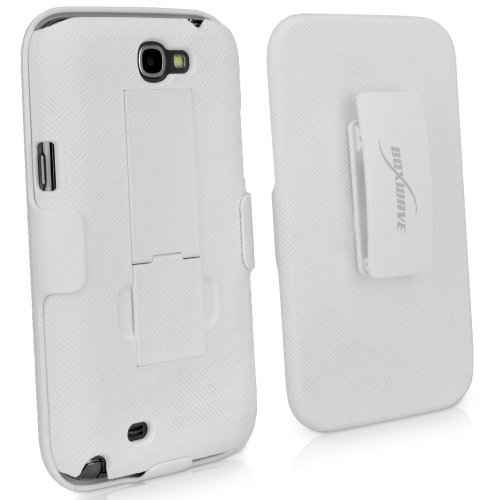 BoxWave Dual+ Holster Samsung Galaxy Note 2 Case - 3-in-1 Holster Combo Case Includes Protective Case and Belt Clip Holster with Integrated Viewing Stand - New and Improved Design! (Winter White)
