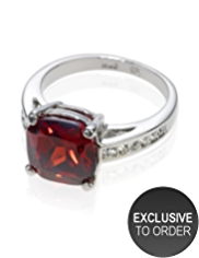 M&S Collection Platinum Plated Cushion Diamanté Ring