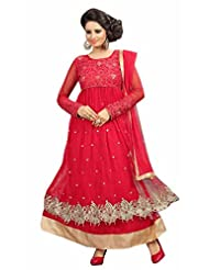 Trendz Apparels Pink Net Anarkali Suit Salwar Suit - B016DITIGE