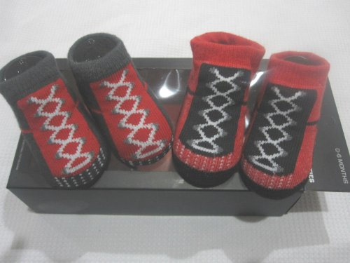 Boys Nike Air Jordan Red Black Gray Baby Newborn Booties Shoes 0-6m